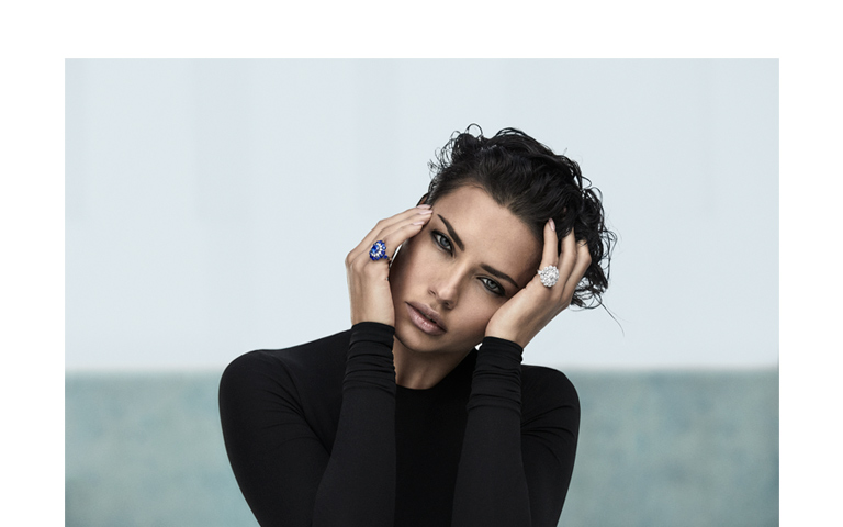 Image of Model Adriana Lima wearing Magical setting rings