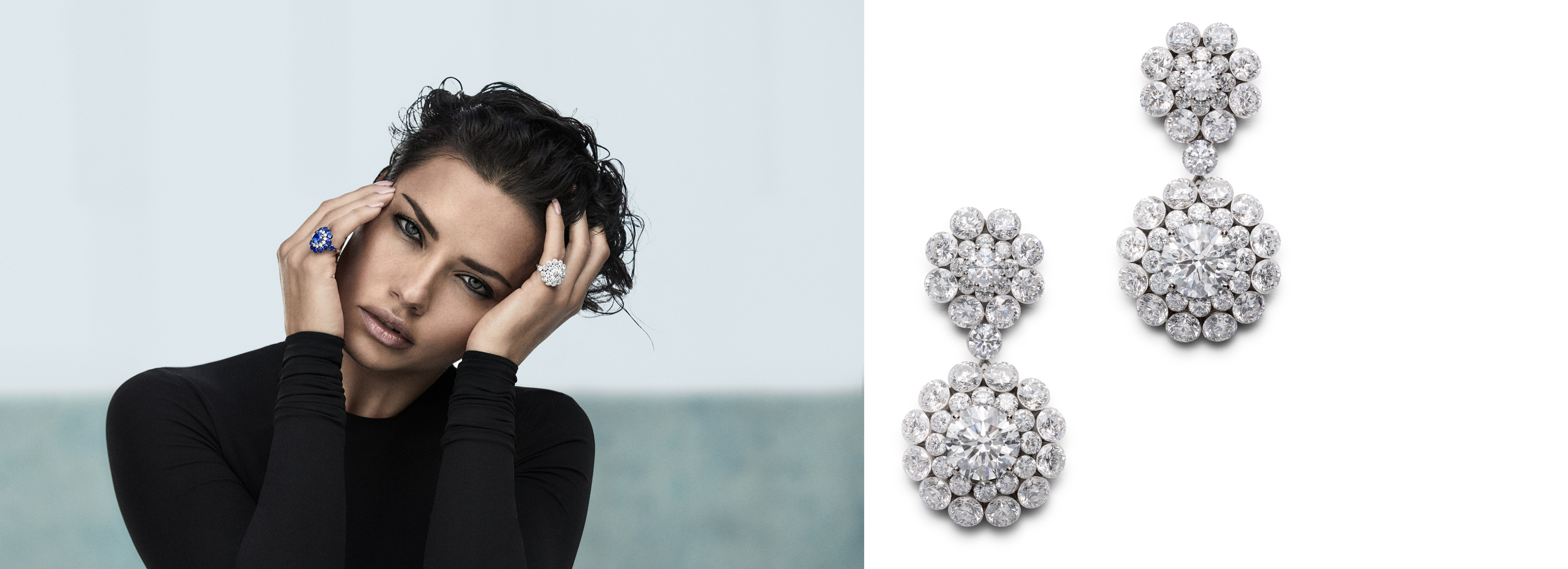 Image of Model Adriana Lima wearing Magical setting rings on left and close-up of Diamond earrings on right
