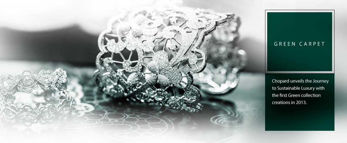 Close-up image of a Green carpet collection diamond cuff